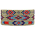 Set Of Three Bracelets In Beige, Silver, Orange And Turquoise Tones image