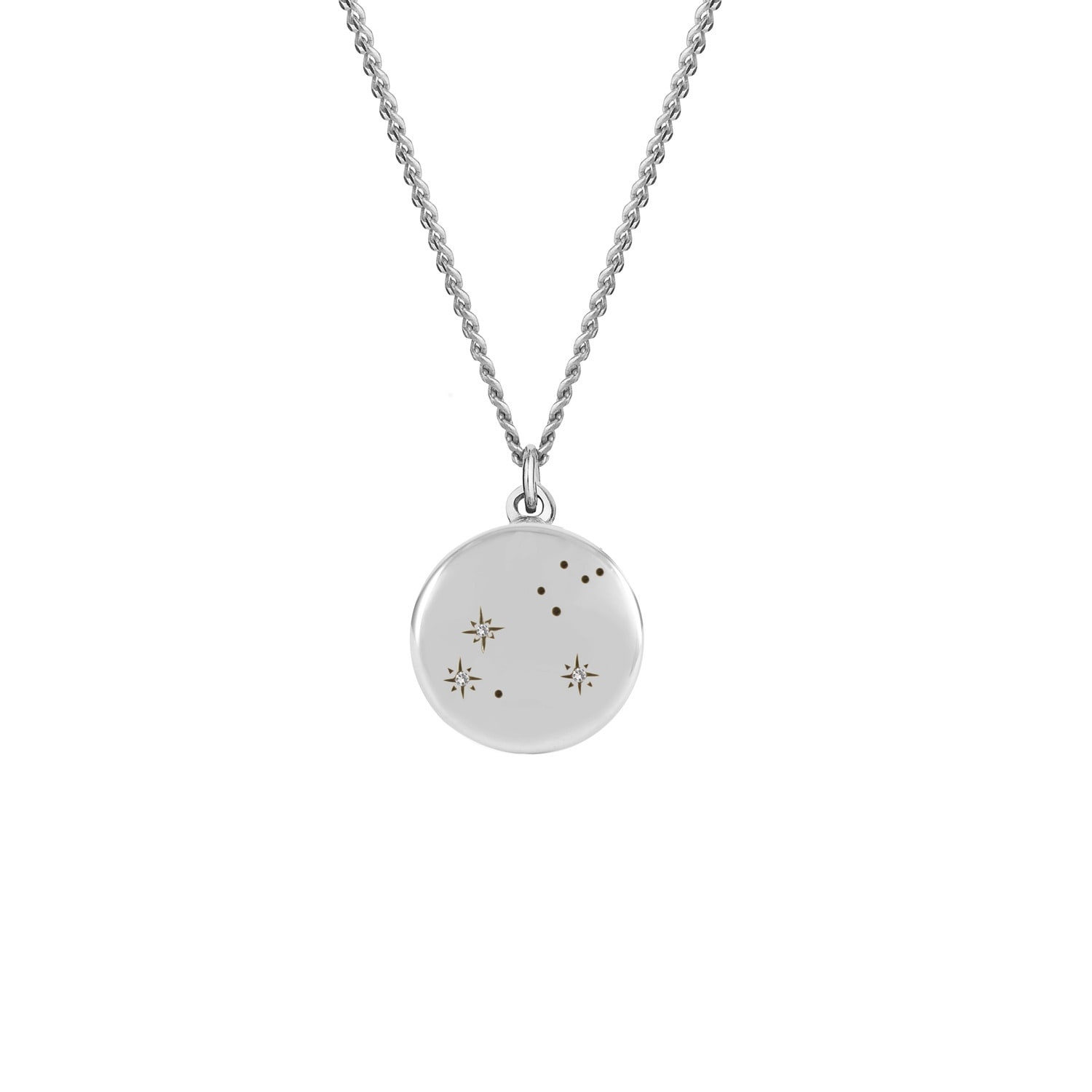 No 13 - Leo Zodiac Constellation Necklace Diamonds & Silver