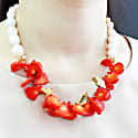 Floral Coral With Natural Freshwater Pearls Statement Necklace image