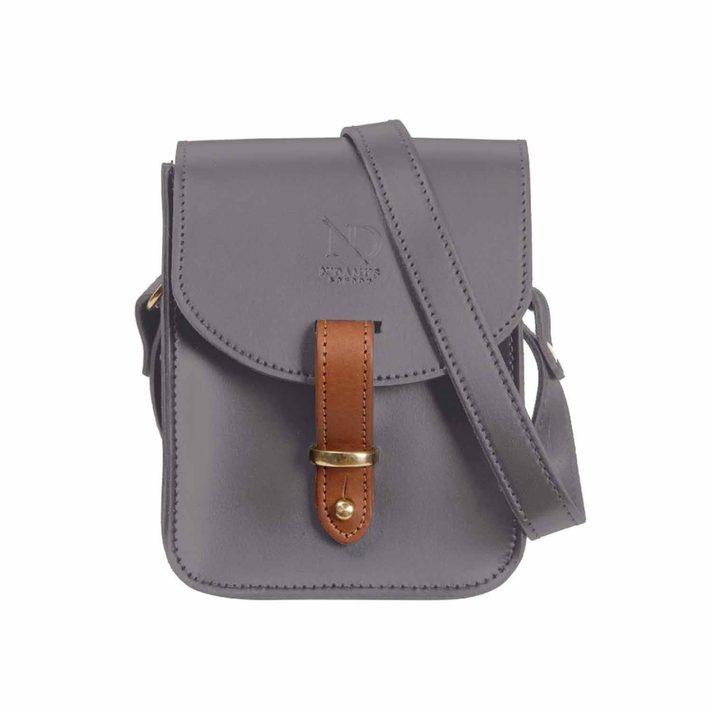 33c49d3633 Mini Elizabeth Grey Leather Crossbody Satchel Bag image