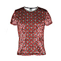 Larvotto Tantric-Red Tee In Ultra-Fine Liquid Shimmer Stretch Fabric image