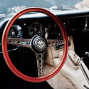 Gold Steering Wheel on White Fox Cord image