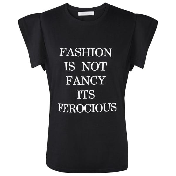 SIOBHAN MOLLOY Black Fashion Is Not Fancy Fly-Away Sleeve T-Shirt