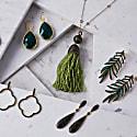 Coco Long Drop Earrings Emerald Green Cz image