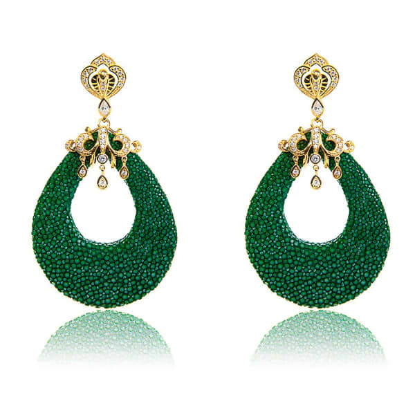 LATELITA LONDON Stingray Teardrop Earring Emerald Green