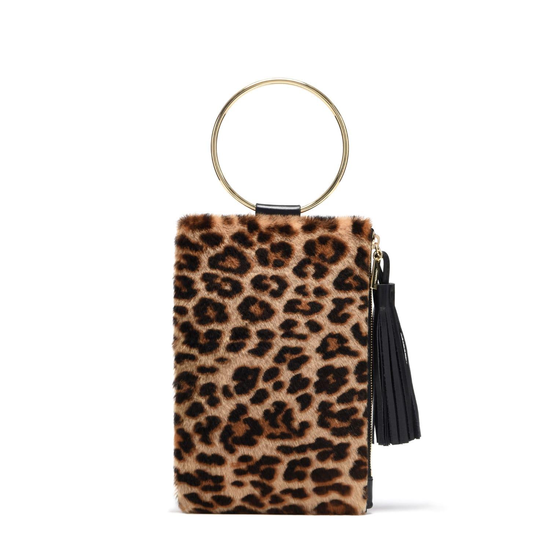 Nolita Clutch In Black   Leopard Shearling  6091df622313f