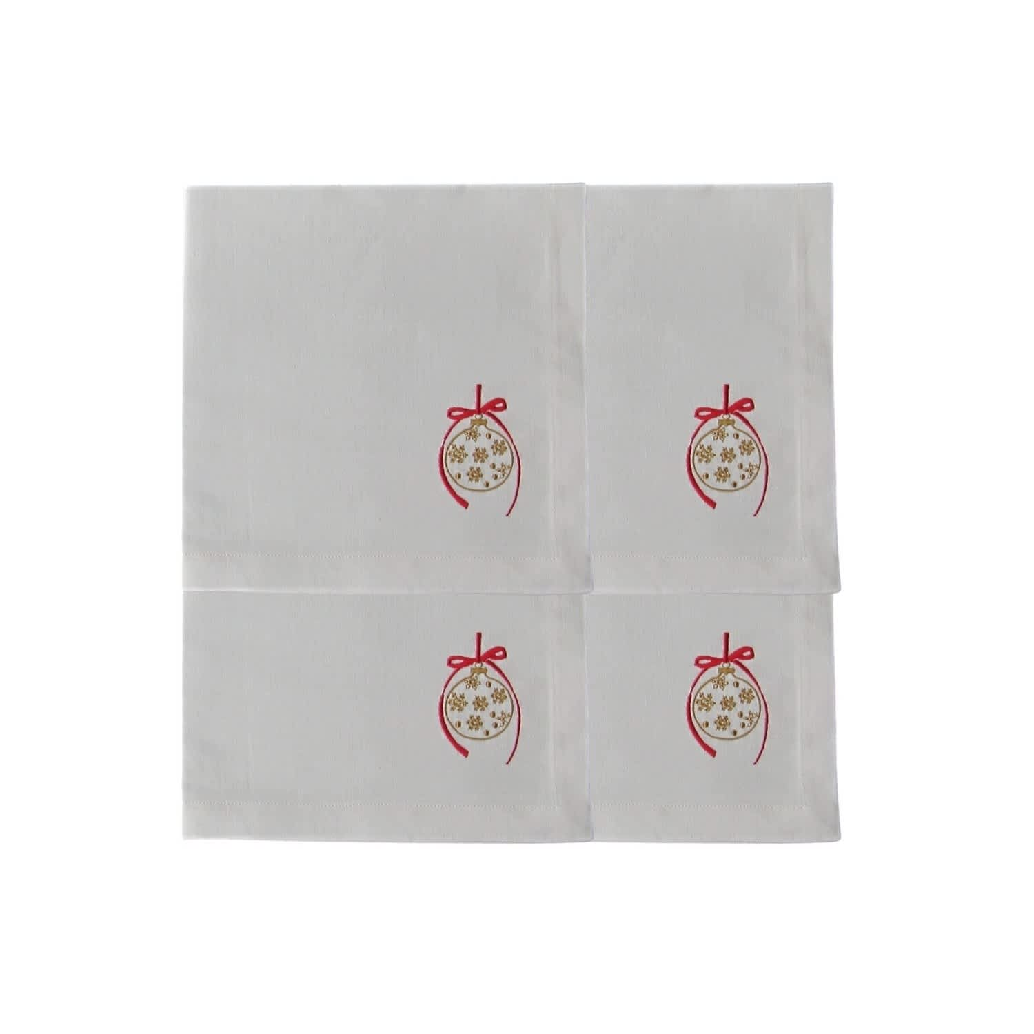 Set Of 4 Bauble Embroidered Linen Napkins Rumour London Wolf Badger
