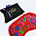 Love Heart Silk Eye Mask With Frill Trim image