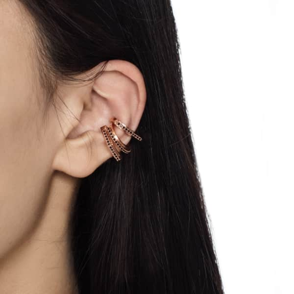 ASTRID & MIYU Fitzgerald Circle Ear Cuff In Rose Gold With Black Stones