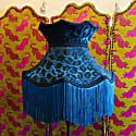 Blue Leopard Print Velvet Crown Lamp Shade With Blue Fringe image