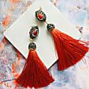 Red Coral Rhinestone Tassel Earrings image
