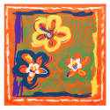 Crayon Flowers Small Square Scarf image