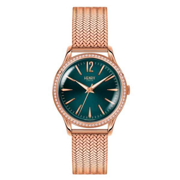 HENRY LONDON Ladies 34mm Stratford Stainless Steel Bracelet Watch with Stone set Bezel