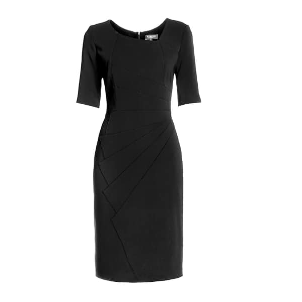RUMOUR LONDON Amelie Black Fitted Knee Length Dress with Asymmetrical Neckline