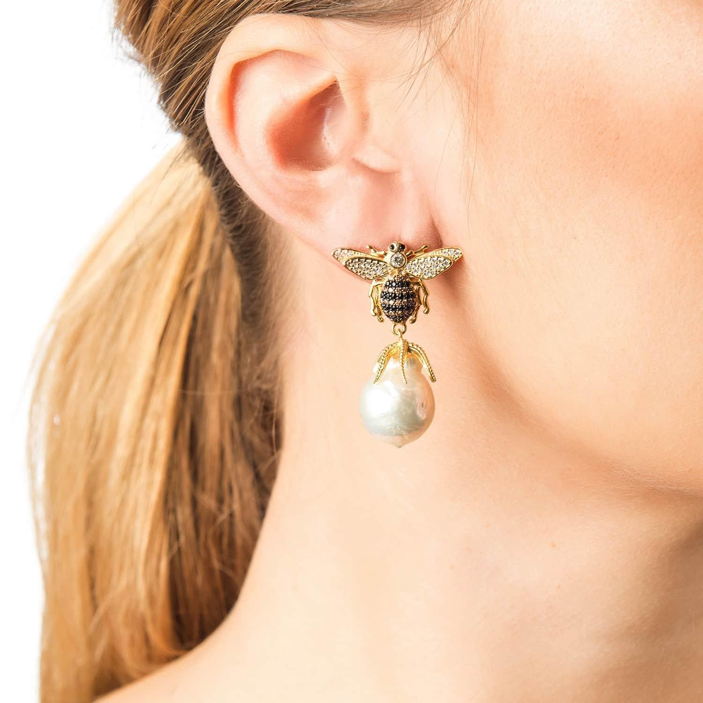 c14ce7a2fb6 Honey Bee Baroque Pearl Drop Earring Rosegold image