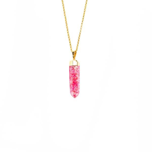 TIANA JEWEL Cerise Crackle Quartz Necklace Pink
