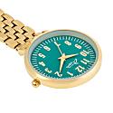 Annie Apple Emerald Green/Gold Link Bracelet Nurse Fob Watch image