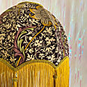 Floral Morris Print Dome Shade With Gold Fringe & Tassels image