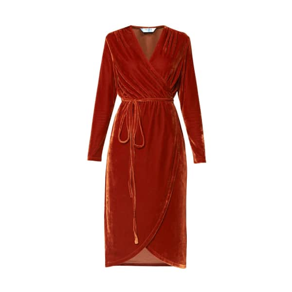 PAISIE Velvet Tie Wrap Dress With Gathered Shoulders In Saffron in Brown