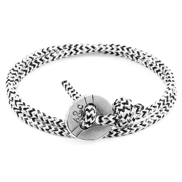 Anchor & Crew White Noir Lerwick Silver & Rope Bracelet