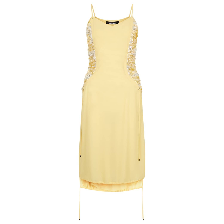 Yellow Shirred Dress