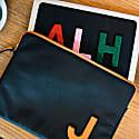 "Personalised Black / Orange Leather 13"" Laptop Bag image"