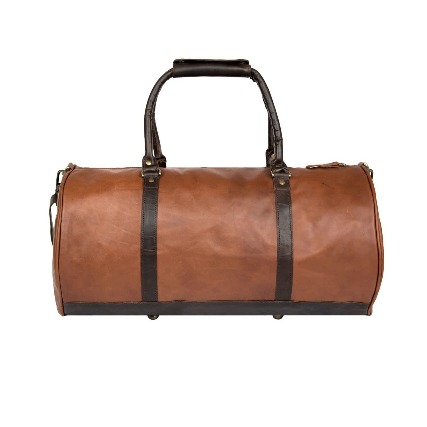 Leather Weekend Classic Duffle Holdall - Overnight Gym Bag In Vintage Brown  With Mahogany Detail f78edd762ce4e
