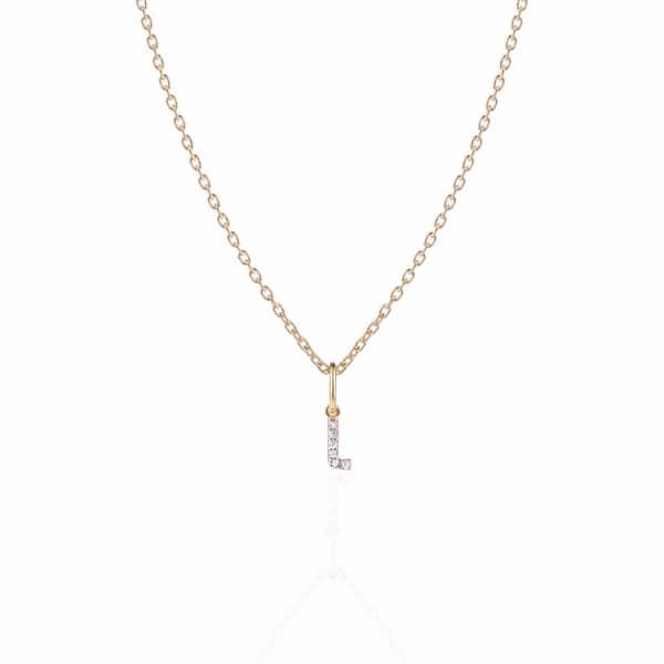 SHARON MILLS LONDON Monogram Mini Diamond Necklace L