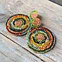 Multicolored Hand Made Crochet Gold Mandala Earrings image