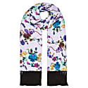 Delores Hand Tasselled Silk Twill Scarf In Gothic Floral Print Iced Lilac image