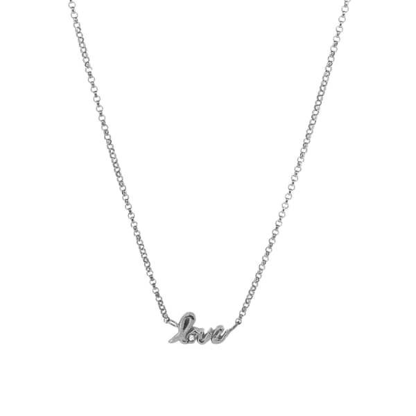 YVONNE HENDERSON JEWELLERY Love Script Necklace with White Sapphire Silver