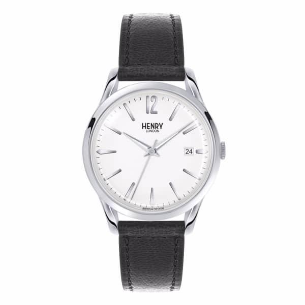 HENRY LONDON Unisex 39Mm Edgware Leather Watch