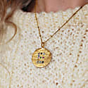 Initial Disc Necklace With Multi Coloured Gemstones image