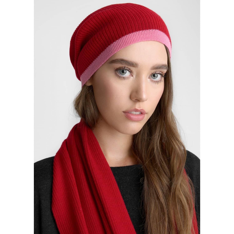 Merino Beanie Hat Cherry   Flamingo image 88846f094e34