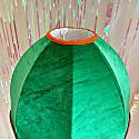 Green Velvet Scalloped Dome With Blue Fringe & Orange Tassels image