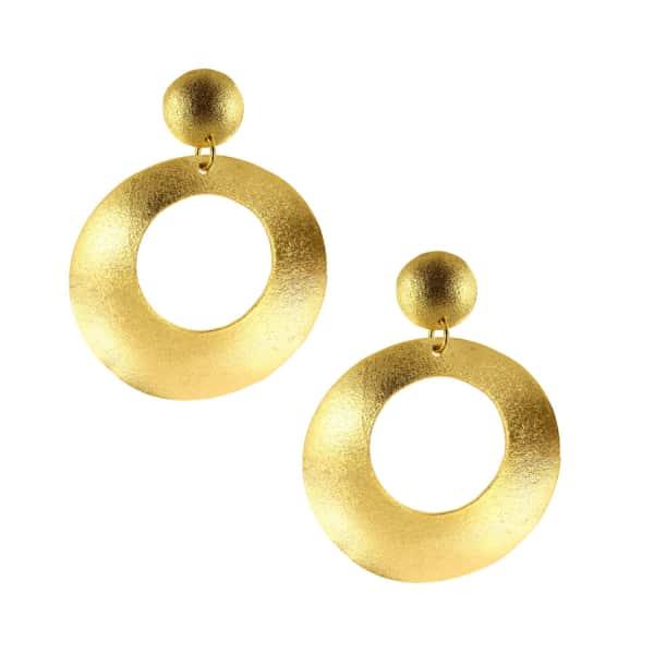 OTTOMAN HANDS Gold Statement Double Drop Earrings