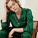 Men Silk Pajama Classic 2-Piece Set - Dark Green image