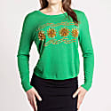 Sequin and Bead Embellished Krystle Cashmere Sweater In Green image
