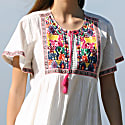White Cotton Dress With Large Embroidery Detail image
