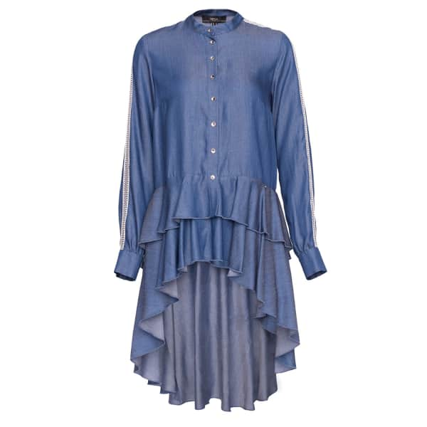 NISSA Denim Blouse With Front Buttons