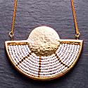 Mwezi Beaded Half Moon Brass Necklace image