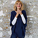 Flora Cotton Cashmere Poncho Mooring Navy & Hoxton Blue image