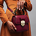 Grace Oxblood Red Top Handle Handbag With Interchangeable Kale Braided Handle image