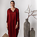 Silk Viscose Kaftan Dress With Sleeves Alya image