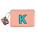 Personalised Medium Classic Leather Clutch Bag - Pink / Blue image