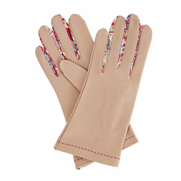 Philomena Beige Leather Gloves With MD Liberty Tana Lawn