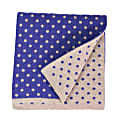 Beige Petrol Blue Dotted Wool & Cashmere Scarf image