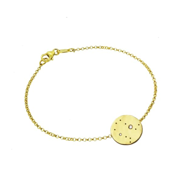 YVONNE HENDERSON JEWELLERY Gemini Constellation Bracelet with White Sapphires Gold
