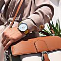 Moderna Vegan Suede Watch - Silver, White & Mustard image