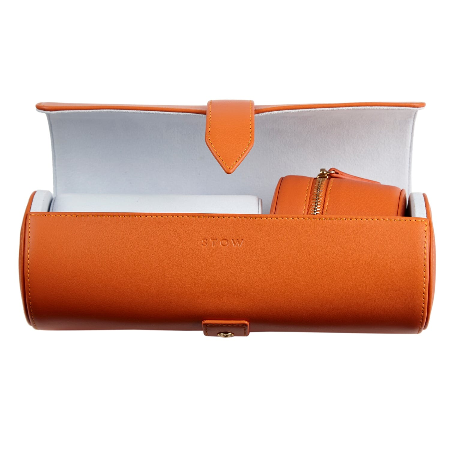 06842808c Soft Leather Sanderson Travel Watch Roll and Stud Box Set Amber Orange
